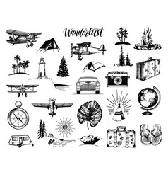 Wanderlust hand lettering in travel icons vector