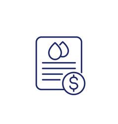 Water utility bill icon line art vector