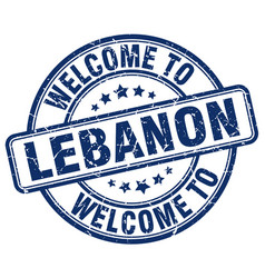 Welcome to lebanon blue round vintage stamp vector