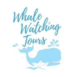Whale watching tours logo in handwritten style vector