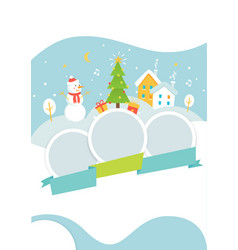 Winter holidays events poster template with snowy vector