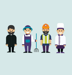 working man catholic priest farmer and chef cook vector image