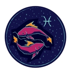 Zodiac sign pisces on night starry sky background vector