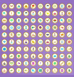 100 company icons set in cartoon style vector