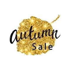Autumn sale brush lettering gold glitter banner vector