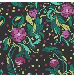 pattern with the drawn peony vector image vector image