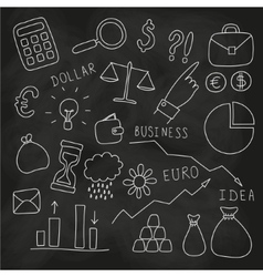 Set of hand drawn business and finance elements vector image