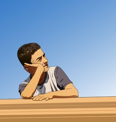 Thinking boy in summer vector image vector image