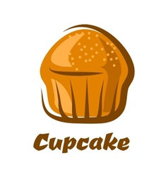 Traditional brown cupcake isolated on white vector image vector image