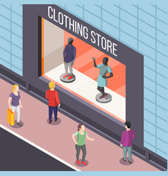 clothing store isometric background vector image vector image