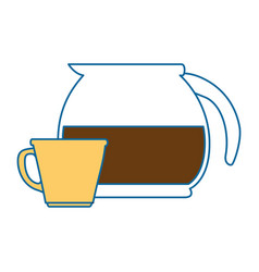 coffee teapot kitchen with cup vector image