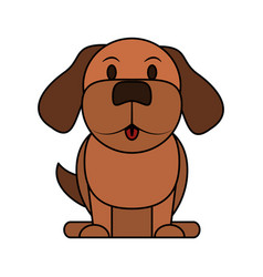 color image cartoon front view dog animal sitting vector image vector image