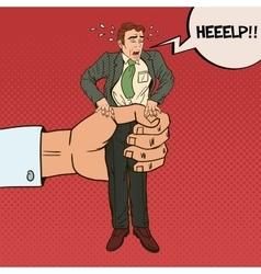 Employer Big Hand Squeezes Pop Art Office Worker vector image vector image