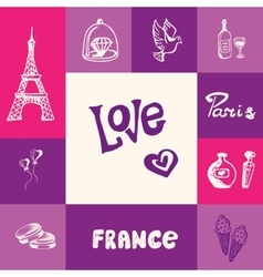 France and paris squared doodle concept vector