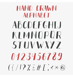 Hand drawn alphabet and numbers ABC letters vector image vector image