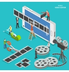 Mobile video editor flat isometric concept vector image