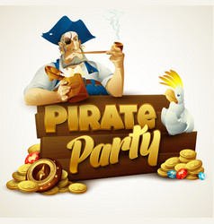 Pirate party poster vector image