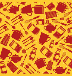 seamless pattern kitchen utensils vector image vector image