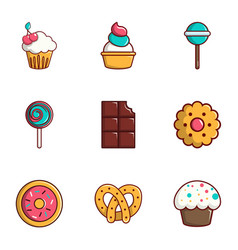 tasty food icons set flat style vector image vector image