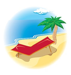 Tropical coast with deck chair vector image