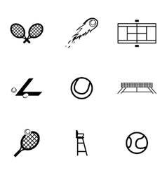 black tennis icons set vector image