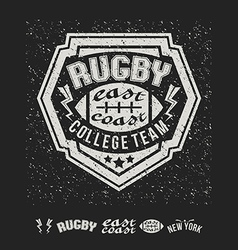 College east coast rugby team emblem and icons vector image vector image