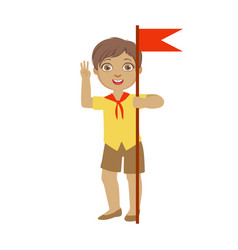 cute boy scout carrying red flag a colorful vector image vector image