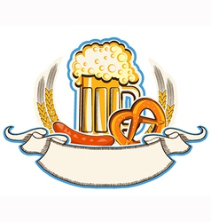 oktoberfest symbol with beer and traditional food vector image vector image