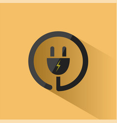 plug icon with shadow on a yellow background vector image vector image