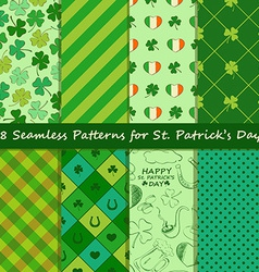 Set of St Patricks Day seamless pattern vector image vector image