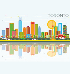 toronto skyline with color buildings blue sky and vector image