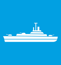 warship icon white vector image vector image