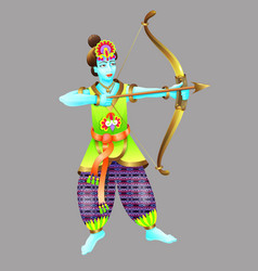 god of krishna shoots from a bow vector image vector image