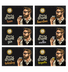hipster holding a glasses alcohol drinks and vector image vector image