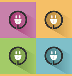 Plug icon with shadow on colored backgrounds vector