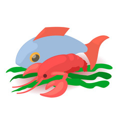sea food icon cartoon isometric 3d style vector image