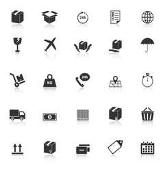 Shipping icons with reflect on white background vector image vector image