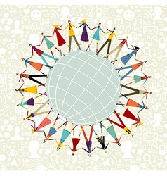 World social media network around the world vector image vector image