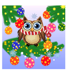 a christmas background with owl snowflakes vector image