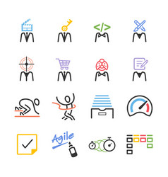 Agile team icon set vector