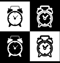 alarm clock sign black and white icons vector image