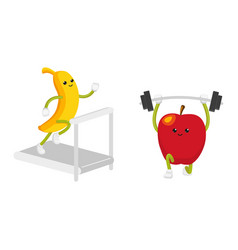 Apple and banana characters working out in gym vector