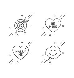 Archery marry me and be mine icons set smile vector