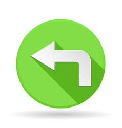 Arrow icon green round sign with shadow left vector