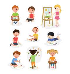 Artist cute kids paint art child creative vector