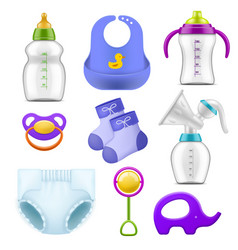 Baby care accessories realistic childish isolated vector