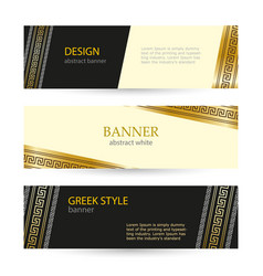 banner black and beige with greek gold ornament vector image