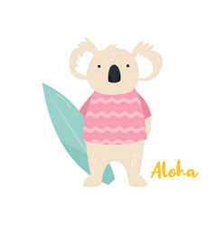 beach koala surfer animal concept vector image