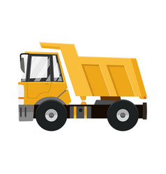 big yellow dump truck tipper truck isolated on vector image