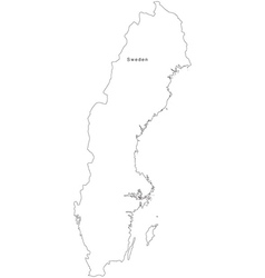 Black White Sweden Outline Map vector